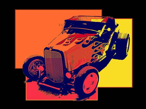 Digital Art - Flaming Hot Rod by David King