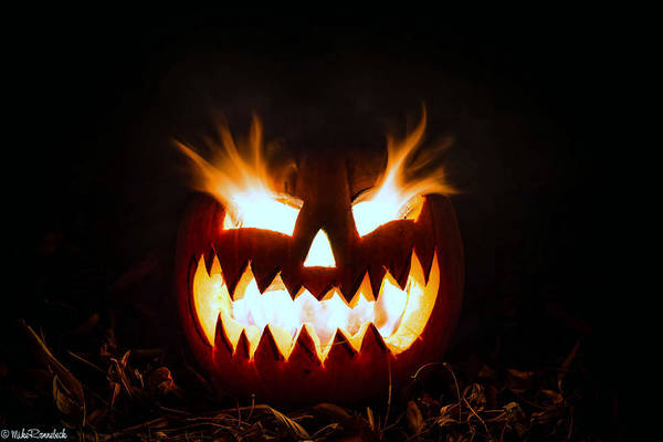Photograph - Flaming Pumpkin by Mike Ronnebeck