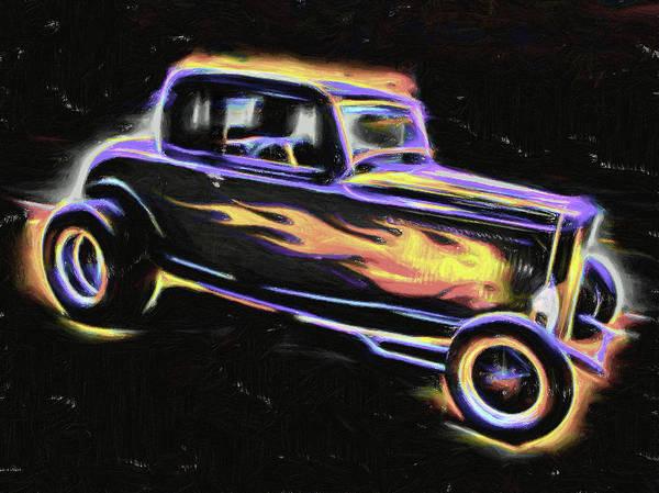Digital Art - Flaming Roadster by Rick Wicker