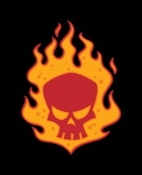 Flames Digital Art - Flaming Skull by John Schwegel