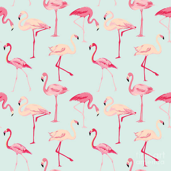 Shabby Wall Art - Digital Art - Flamingo Bird Background - Retro by Woodhouse