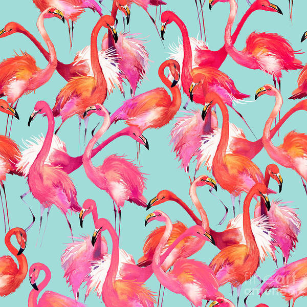 Hawaiian Wall Art - Digital Art - Flamingo Birds Seamless Background by Faenkova Elena