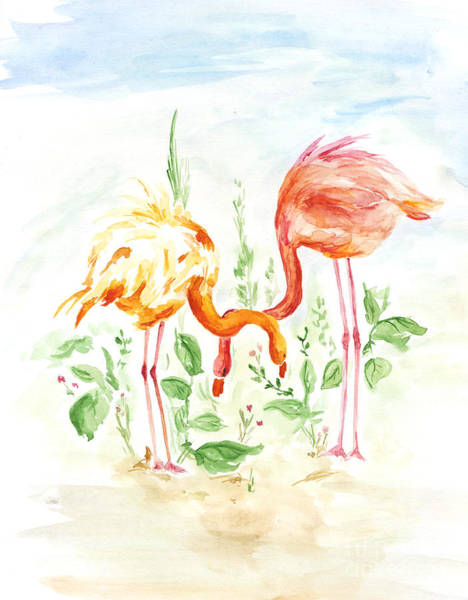 Flock Wall Art - Digital Art - Flamingo Couple - Watercolor by Venimo