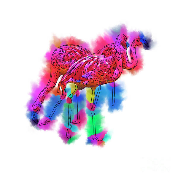 Digital Art - Flamingo Flock In Abstract by Kirt Tisdale