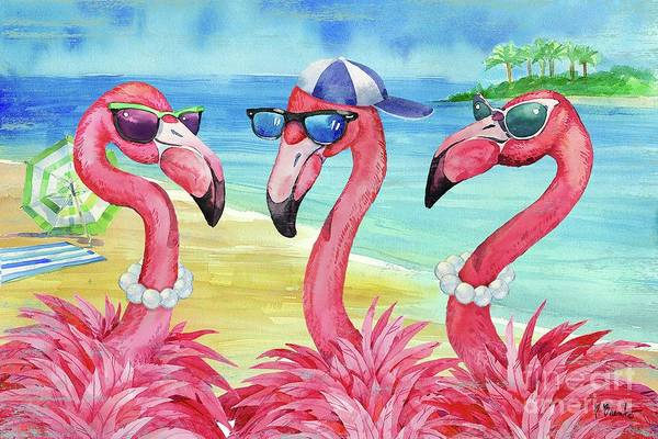 Wall Art - Painting - Flamingo Friends And Guy by Paul Brent