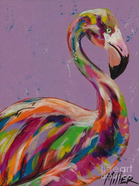 Wall Art - Painting - Flamingo In Lilac by Tracy Miller
