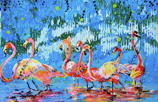 Painting - Flamingo Pat Party by Tilly Strauss