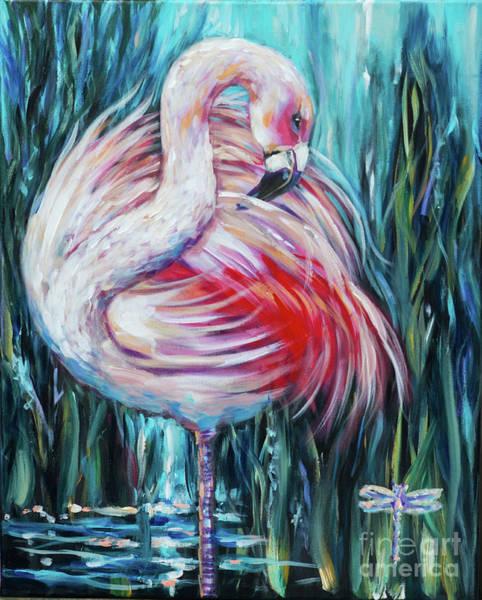 Painting - Flamingo Preening by Linda Olsen