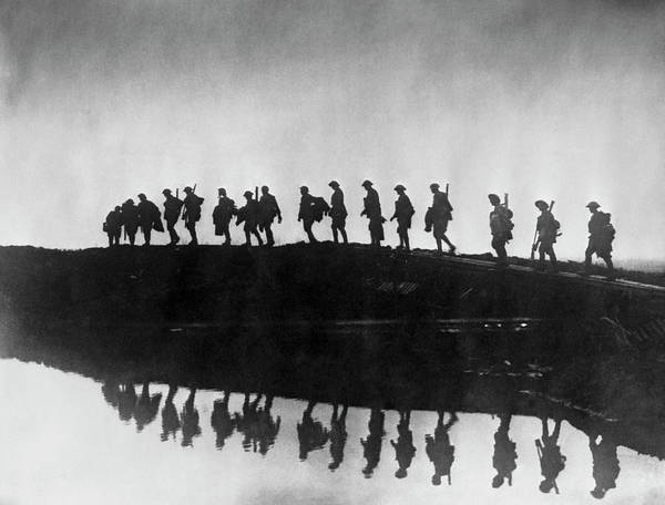 Marching Photograph - Flanders Soldiers by Frank Hurley