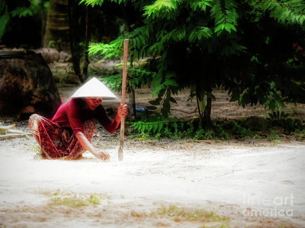 Wall Art - Photograph - Flare Cambodian Woman Landscape  by Chuck Kuhn