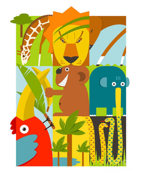 Wall Art - Digital Art - Flat African Animals Symbols Set by Popmarleo