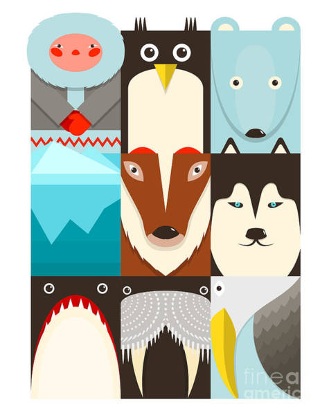 Reindeer Wall Art - Digital Art - Flat Arctic Symbols Set. North Pole by Popmarleo