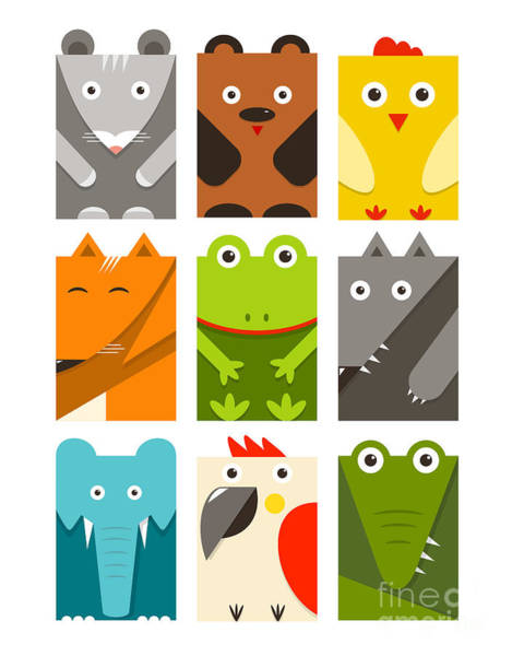 Wall Art - Digital Art - Flat Childish Rectangular Animals Set by Popmarleo
