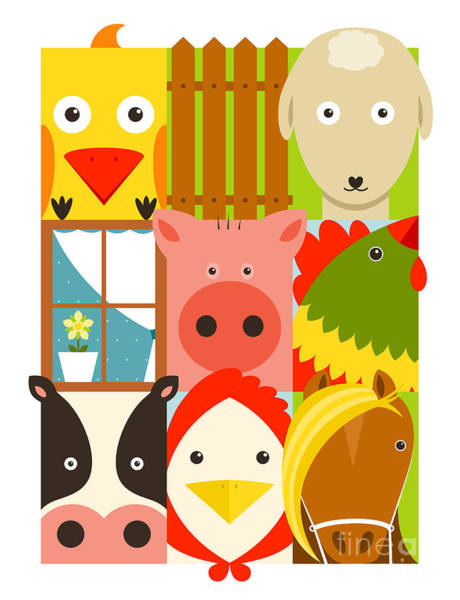 Wall Art - Digital Art - Flat Childish Rectangular Cattle Farm by Popmarleo