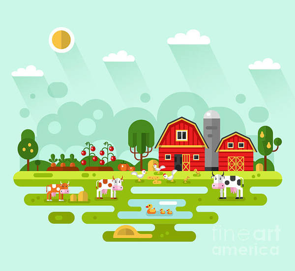 Wall Art - Digital Art - Flat Design Vector Rural Landscape by Milkym