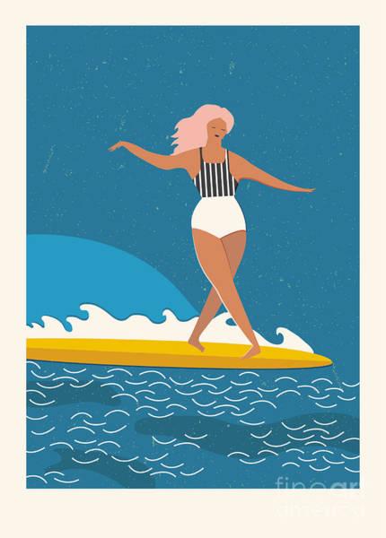 Wall Art - Digital Art - Flat Illustration With Surfer Girl On A by Nicetoseeya