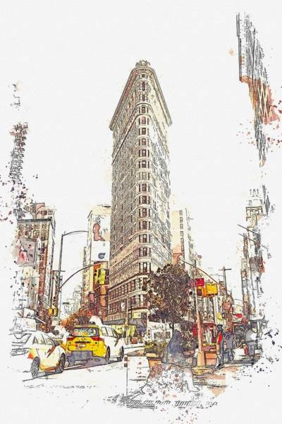 Wall Art - Painting - Flat Iron, New York, Etats-unis    Watercolor By Adam Asar by Celestial Images