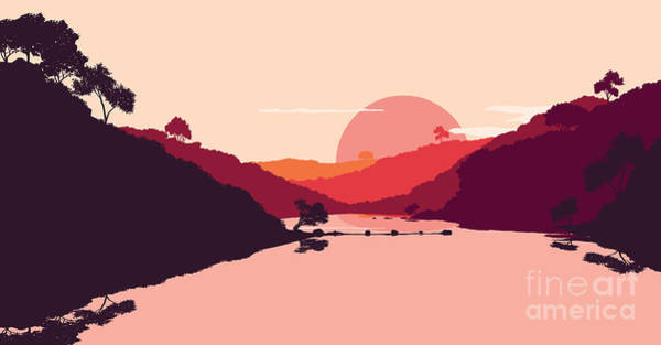 Harmony Digital Art - Flat Landscape Of Mountain, Lake And by Miomart
