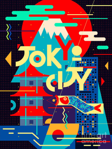 East Asia Wall Art - Digital Art - Flat Poster. Tokyo City by Daria i
