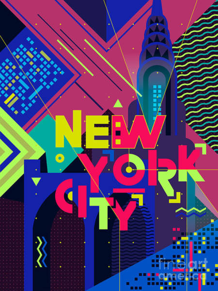 Neon Lights Digital Art - Flat Typography Poster. New York City by Daria i