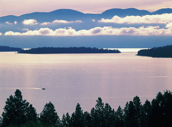 Montana Photograph - Flathead Lake, Montana, Dawn, With by Laurance B. Aiuppy