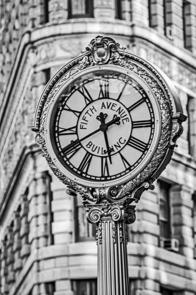 Photograph - Flatiron And Fifth Ave Clock Nyc Bw by Susan Candelario
