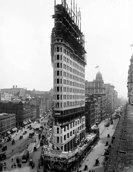 Photograph - Flatiron Building Being Built - New York - 1902 by Doc Braham