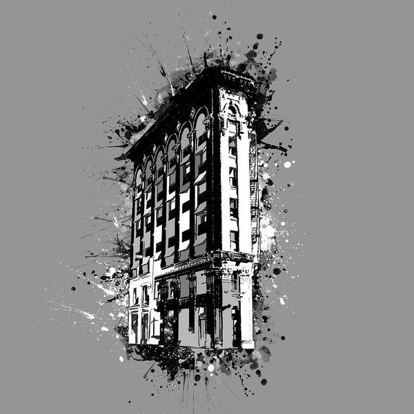 Fort Worth Digital Art - Flatiron Building Fort Worth Black And White by Bekim M