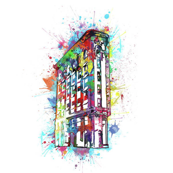 Fort Worth Digital Art - Flatiron Building Fort Worth Watercolor by Bekim M