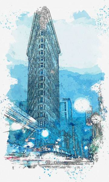 Painting - Flatiron Building In The Winter, Ny -  Watercolor By Adam Asar by Adam Asar