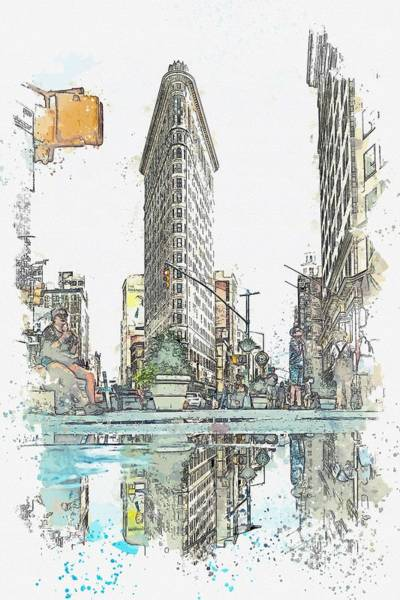 Wall Art - Painting - Flatiron Building, New York, United States -  Watercolor By Adam Asar by Celestial Images