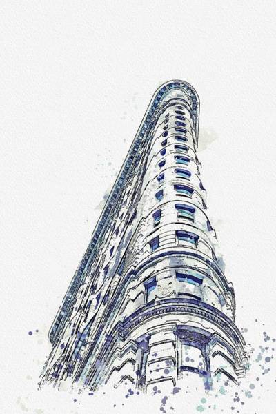 Wall Art - Painting - Flatiron Building Watercolor By Ahmet Asar by Celestial Images