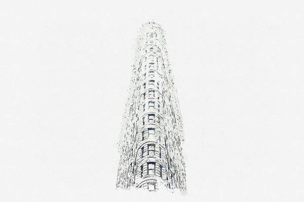 Wall Art - Painting - Flatiron, New York, United States -  Watercolor By Adam Asar by Celestial Images