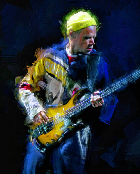 Wall Art - Mixed Media - Flea, Musician by Mal Bray