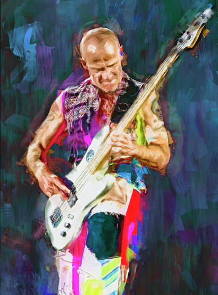 Wall Art - Mixed Media - Flea, Red Hot Chili Peppers by Mal Bray