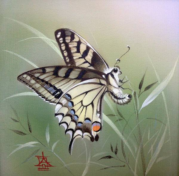Painting - Fleeting Beauty.  Swallowtail by Alina Oseeva