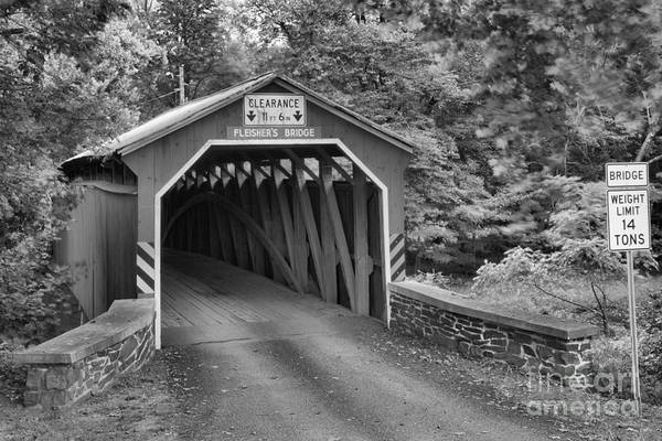 Photograph - Fleisher Covered Bridge Black And White by Adam Jewell