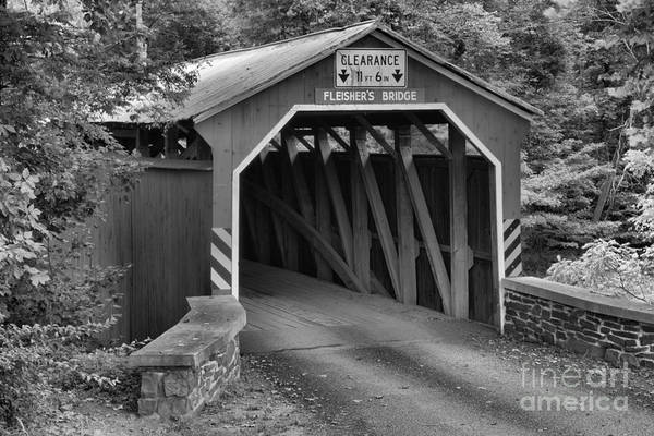 Photograph - Fleisher Covered Bridge Closeup Black And White by Adam Jewell