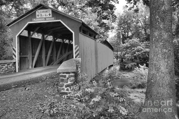 Photograph - Fleisher Covered Bridge In The Trees Black And White by Adam Jewell