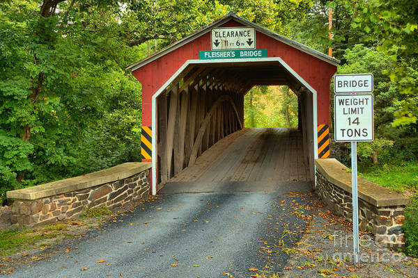 Photograph - Fleisher Covered Bridge Landscape by Adam Jewell