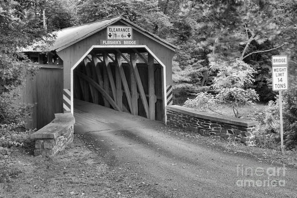 Photograph - Fleishers Covered Bridge Through The Woods Black And White by Adam Jewell