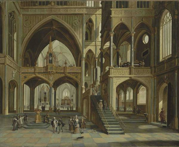 Wall Art - Painting - Flemish School, 18th Century A Church Interior by Celestial Images