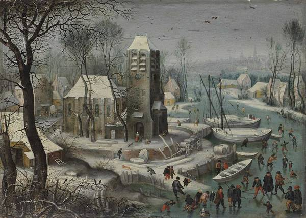 Wall Art - Painting - Flemish School  Circa 1600 A Village Landscape With A Church And Numerous Figures Skating And Playin by Celestial Images