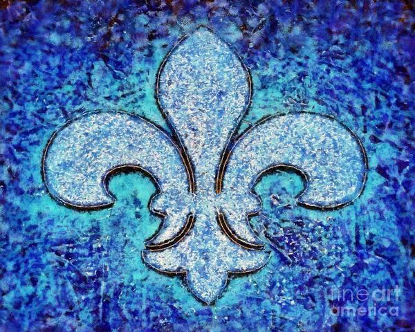 Fleur De Lys Painting - Fleur De Lis Blue Ice by Janine Riley