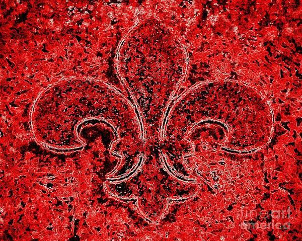 Fleur De Lys Painting - Fleur De Lis Red Ice by Janine Riley