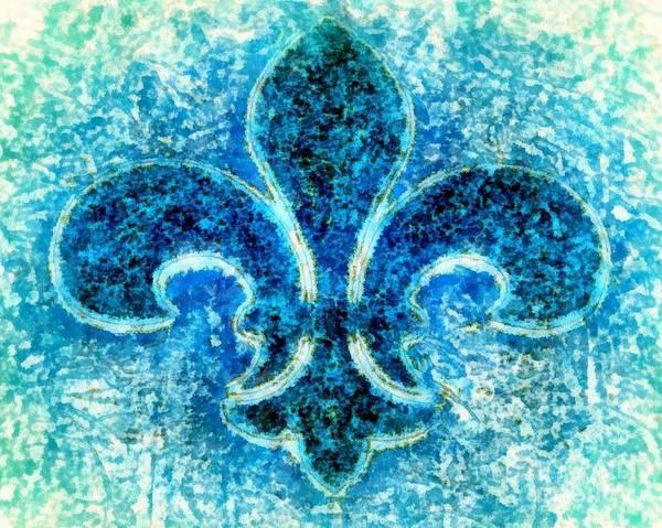 Fleur De Lys Painting - Fleur De Lis Turquoise - Par Le Mer by Janine Riley