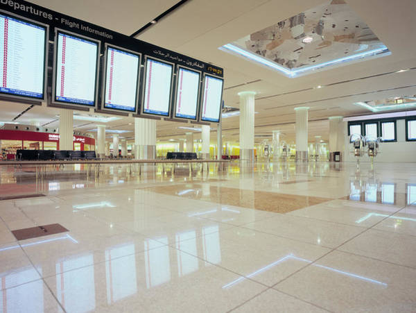 Tile Floor Wall Art - Photograph - Flight Information Displays At Dubai by Eschcollection