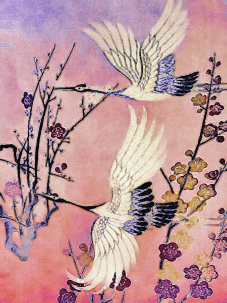 Art Print featuring the tapestry - textile Flight Of The Cranes - Kimono Series by Susan Maxwell Schmidt