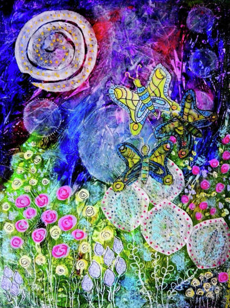 Mixed Media - Flight Of The Lunar Moths by Mimulux patricia No