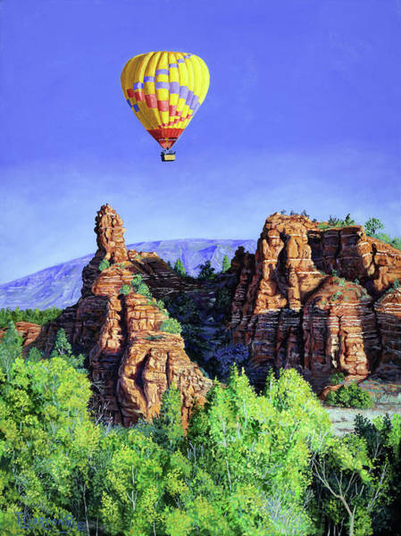 Wall Art - Painting - Flight Over Thumb Rock by Timithy L Gordon